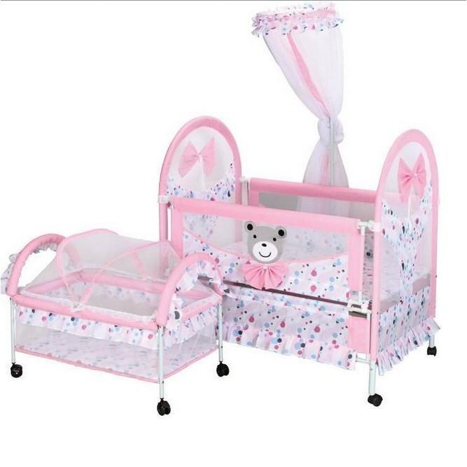 兒童鐵床布藝嬰兒床嬰兒搖籃醒目仔9356 寶寶床兒童床BB 搖床曉韓 店