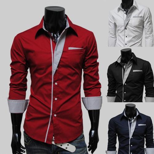 ~天天 ~ 春裝西裝打底撞色襯衣 拼接修身男士長袖襯衫