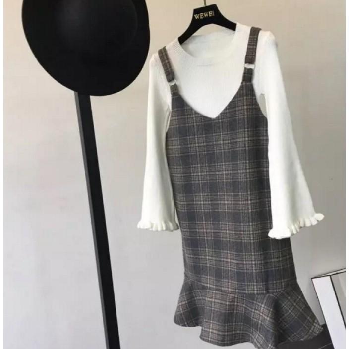 韓範簡約氣質揹帶格子毛呢魚尾裙襬直筒百搭連衣裙