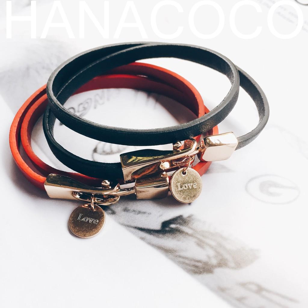 率性黑仿皮手環~HANACOCO ~