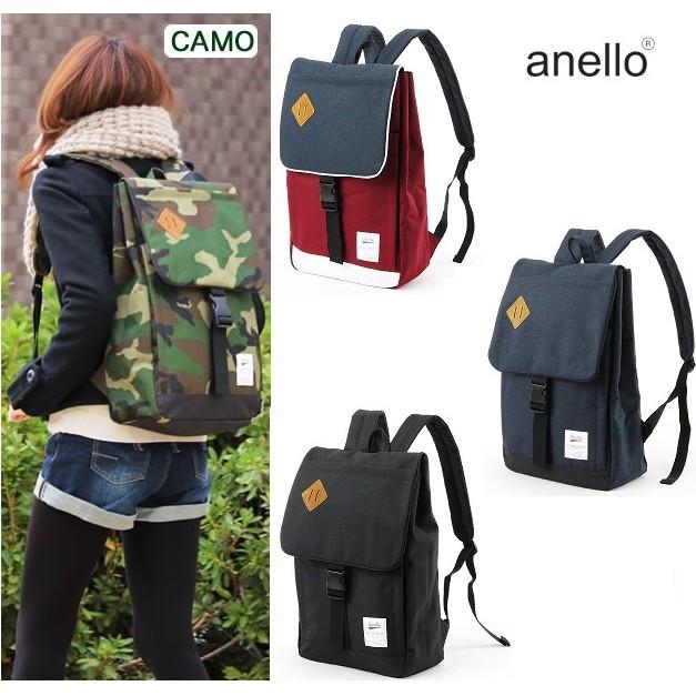 正品Anello 豬鼻子聯名款方型掀蓋包大款後背包多收納袋可擴充尼龍媽媽包書包旅行包