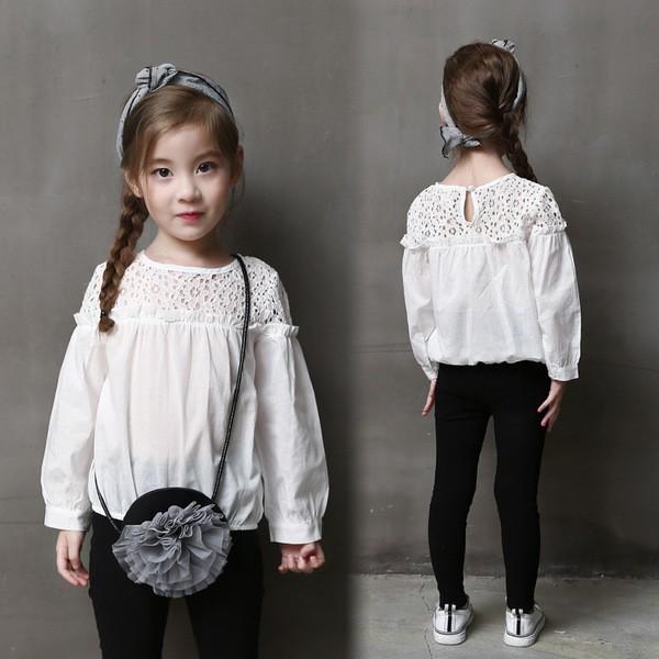 娃娃衫 可愛鏤空拼接式泡泡袖襯衫
