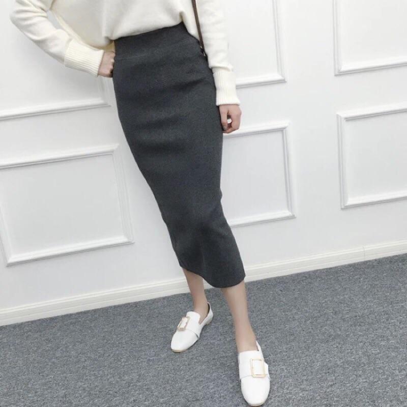 針織開衩長裙彈性佳舒適
