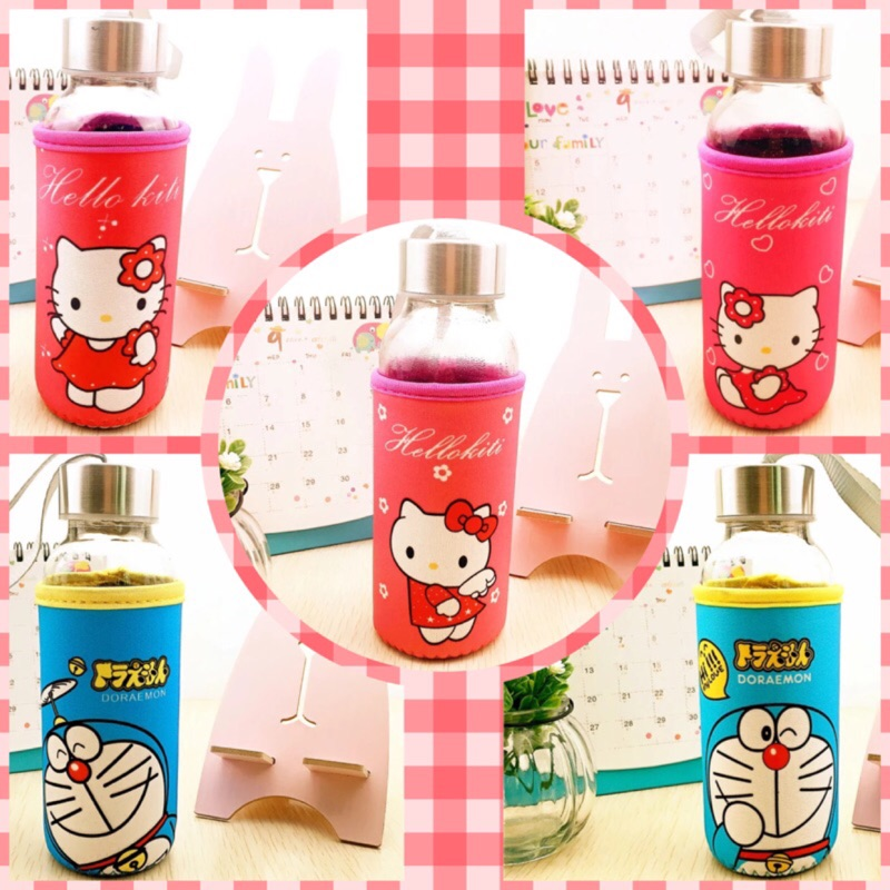 Hello kitty 哆啦a 夢耐高溫kitty 玻璃杯凱蒂貓杯子小叮噹耐用杯✨杯套玻璃