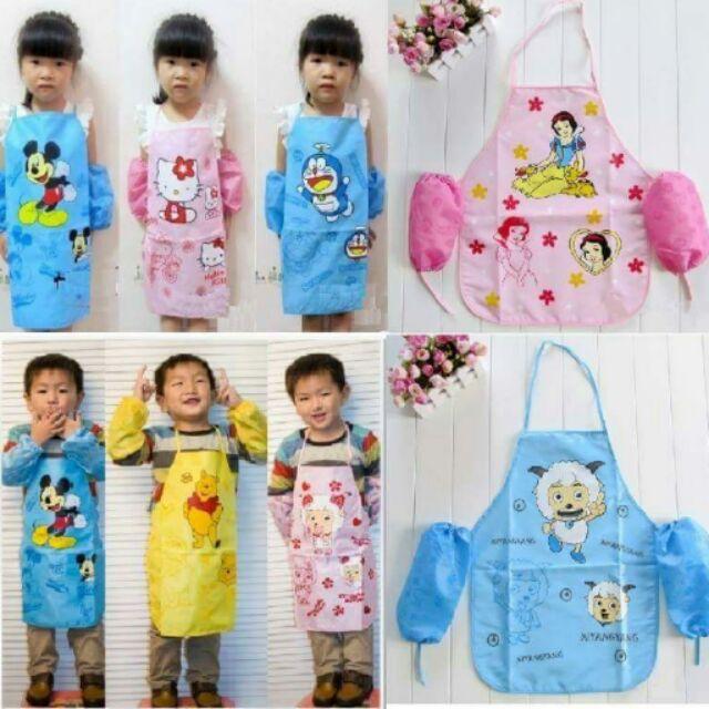 ❤Mus 麻熙 ❤用品~外貿兒童可愛卡通雙層防水圍裙畫畫衣防水袖套2 件套