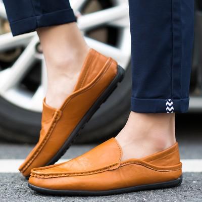 2017 男鞋皮鞋男士休閒鞋英倫風豆豆鞋一腳蹬懶人鞋子男駕車鞋