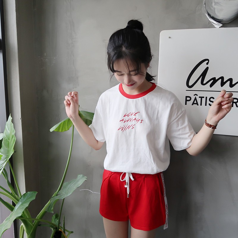 ~ ~ 正韓 學院風休閒 短袖字母印花T 恤上衣紅色 繫帶短褲女套裝 套裝女生衣著