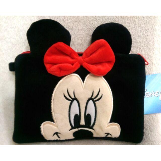 迪士尼disney 米妮雙層絨毛筆袋錢包化妝包收納包