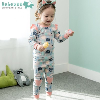唯唯 韓國 bebezoo 秋款女童森林綿羊家居服上衣長褲兩件套80 110cmZ0062