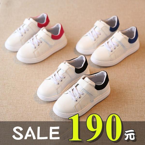 男女童休閒鞋學步鞋1 18 歲絨布拼接百搭小白鞋3 色~5D243 ~