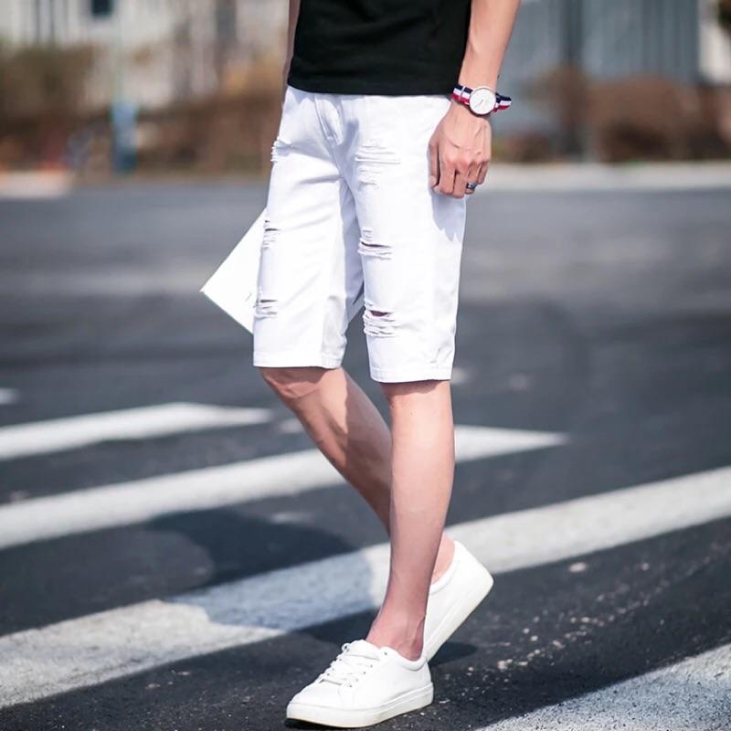 潮流破洞素色短褲黑白兩色