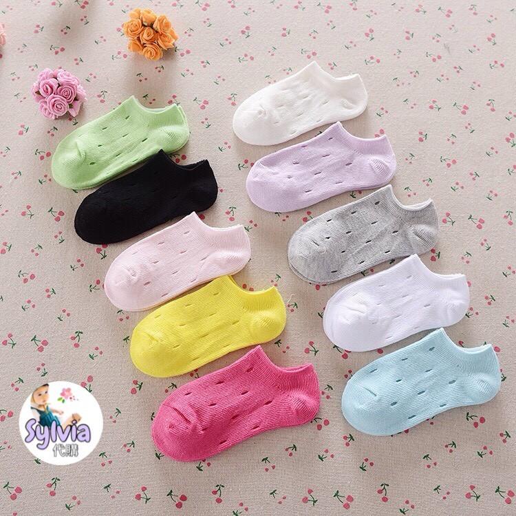 春夏單品全棉糖果色兒童簍空洞洞船襪(1 組3 雙135