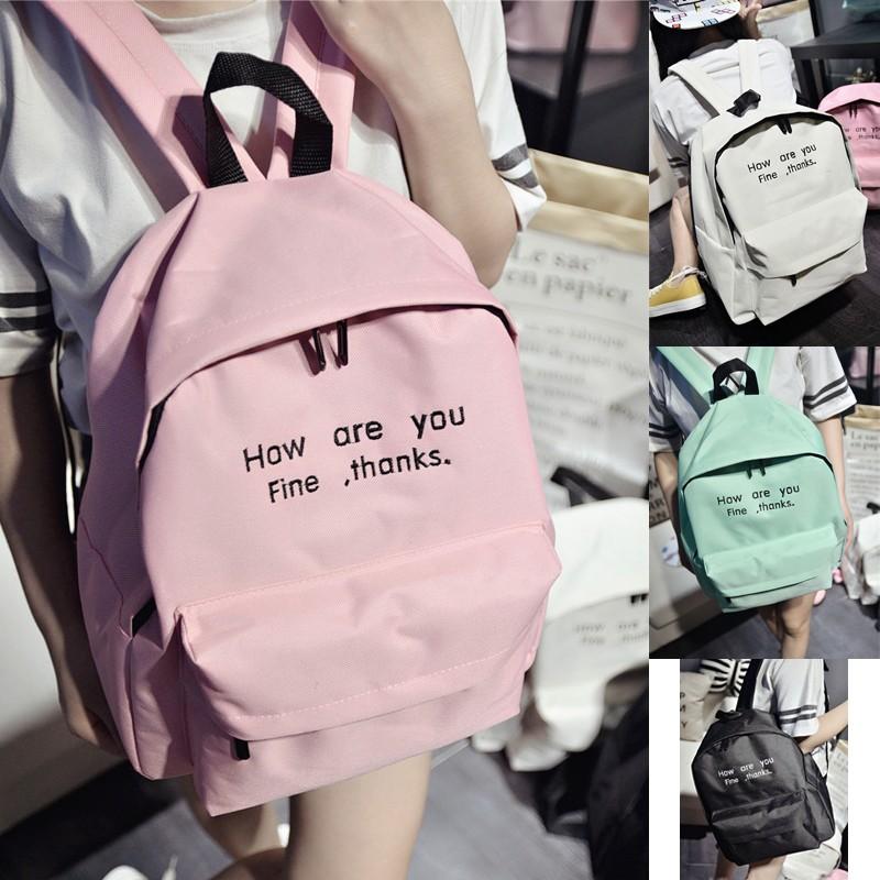 ❤ 奈兒風向標~糖果色雙肩包字母休閒旅行背包帆布小清新學生書包 背包