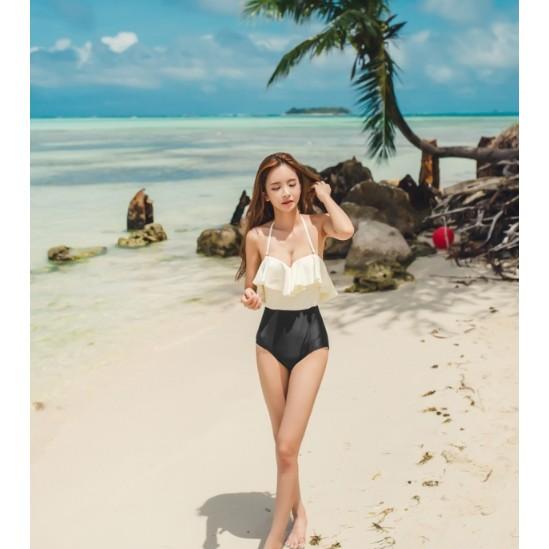 美人泳衣大荷葉邊三角連體泳衣帶鋼托顯瘦束身海邊泳裝