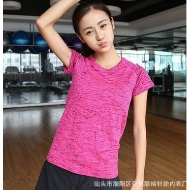健身女高彈 短袖段染 t 恤跳操跑步瑜伽服上衣速幹修身衣服