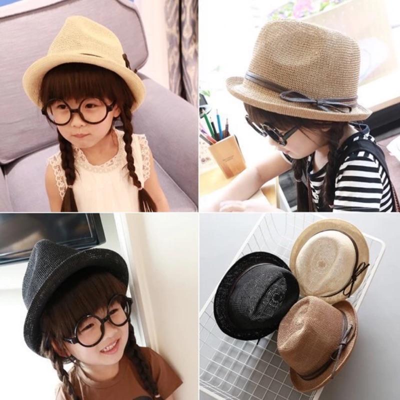 [Dorara ]韓國版型兒童帽子蝴蝶結禮帽透氣編織帽爵士帽遮陽帽 紳士帽