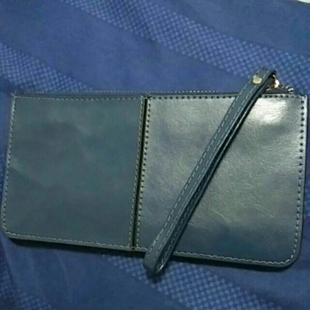 長夾手拿包零錢包多層夾多卡超薄 深藍色