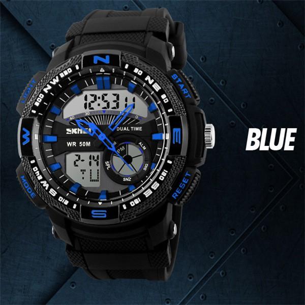 時刻美男士潮流 電子表防水 戶外 雙顯多 男學生腕錶