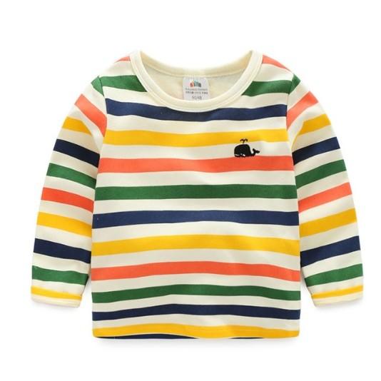 E1106 韓系寶寶彩條T 恤男童兒童條紋休閒長袖上衣MAMA 咪呀 衣鋪