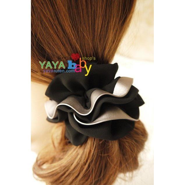 Yaya baby 髮飾氣質黑雪紡銀皮邊三層大髮圈頭花髮繩大腸髮圈混搭3 件包郵(個)
