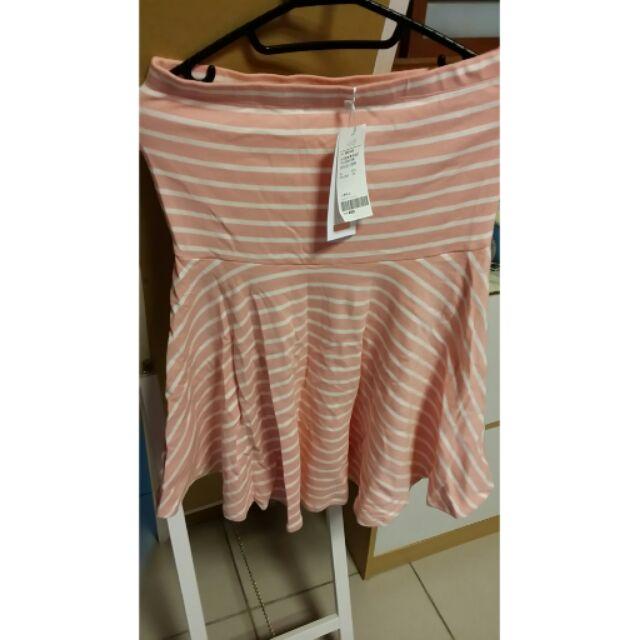 PAZZO 含 粉紅條紋平口傘襬洋裝M 號