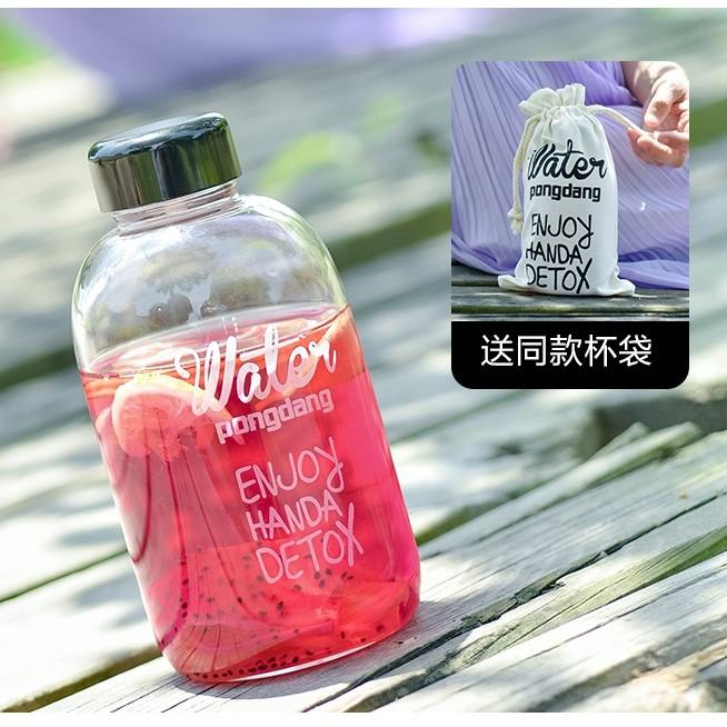~韓國pongdang water 布套玻璃杯600ML ~韓國 大容量玻璃杯水瓶水壺隨行