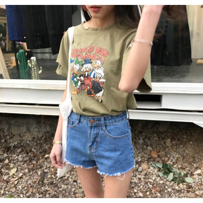 高腰玫瑰花刺繡牛仔短褲女學生熱褲寬鬆闊腿褲