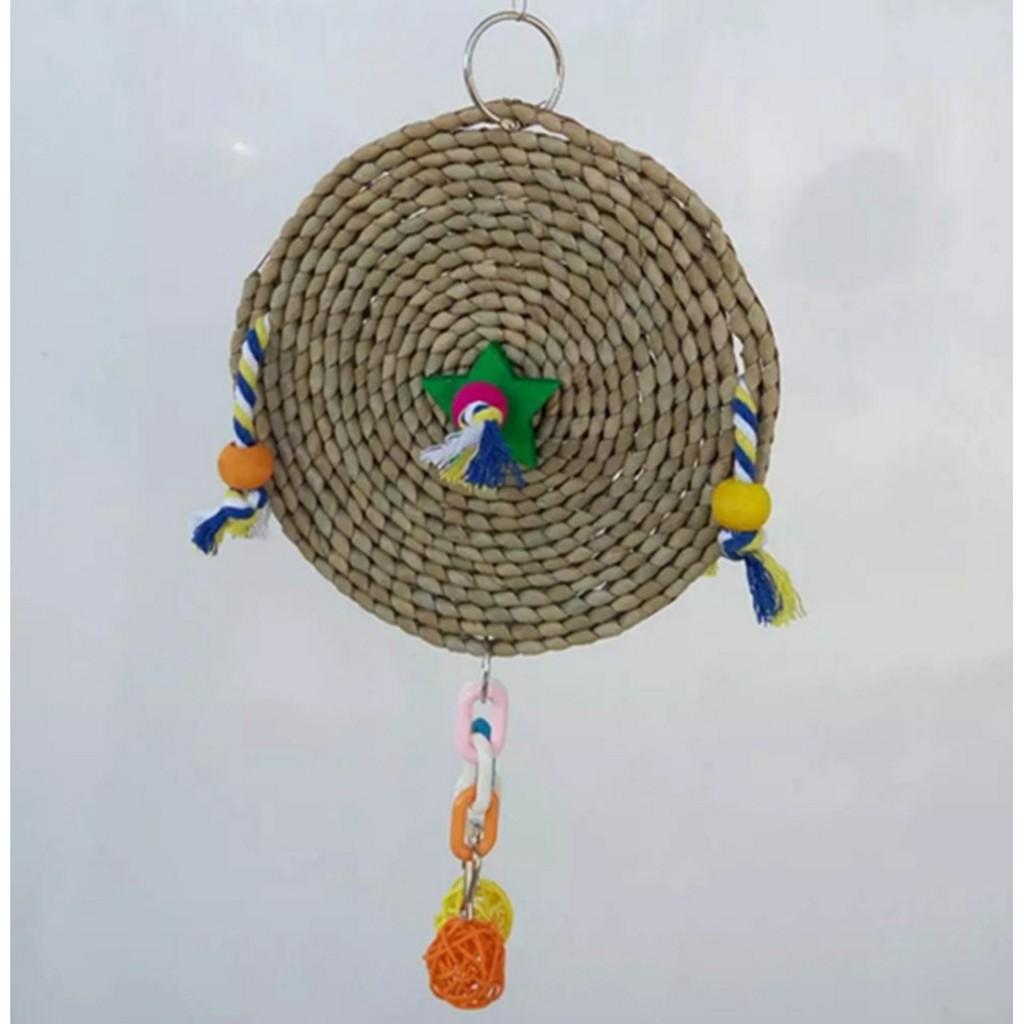 鸚鵡愛啃咬草編車輪圓形星星木質彩色籐球啃咬玩具