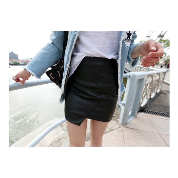 pu 皮裙不規則半身裙高腰修身顯瘦性感短裙包臀裙