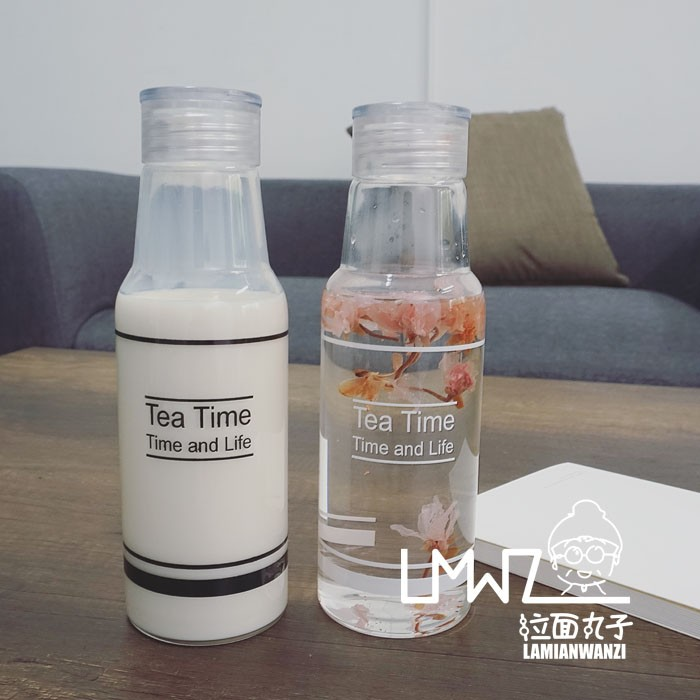 拉麵丸子韓國簡約小清新玻璃水杯透明學生英文字母水瓶 便攜手提隨手杯