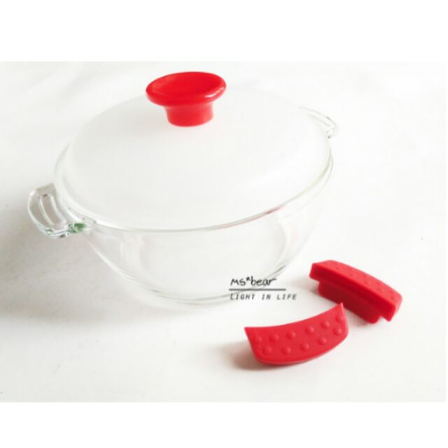 Ms Bear 鍋寶碗多 玻璃碗烤箱微波爐雙耳矽膠把手水晶鍋泡麵碗湯碗耐熱保鮮碗1250m