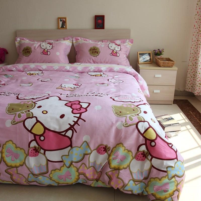 100 %純棉Hello kitty 薄床包、枕套、被套~舒適親膚吸汗透氣~不退色、不起球