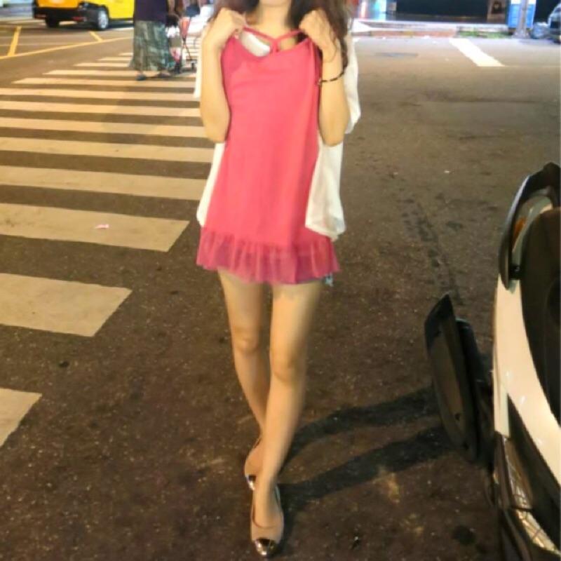 桃紅色內搭下擺網紗裙長背心洋裝