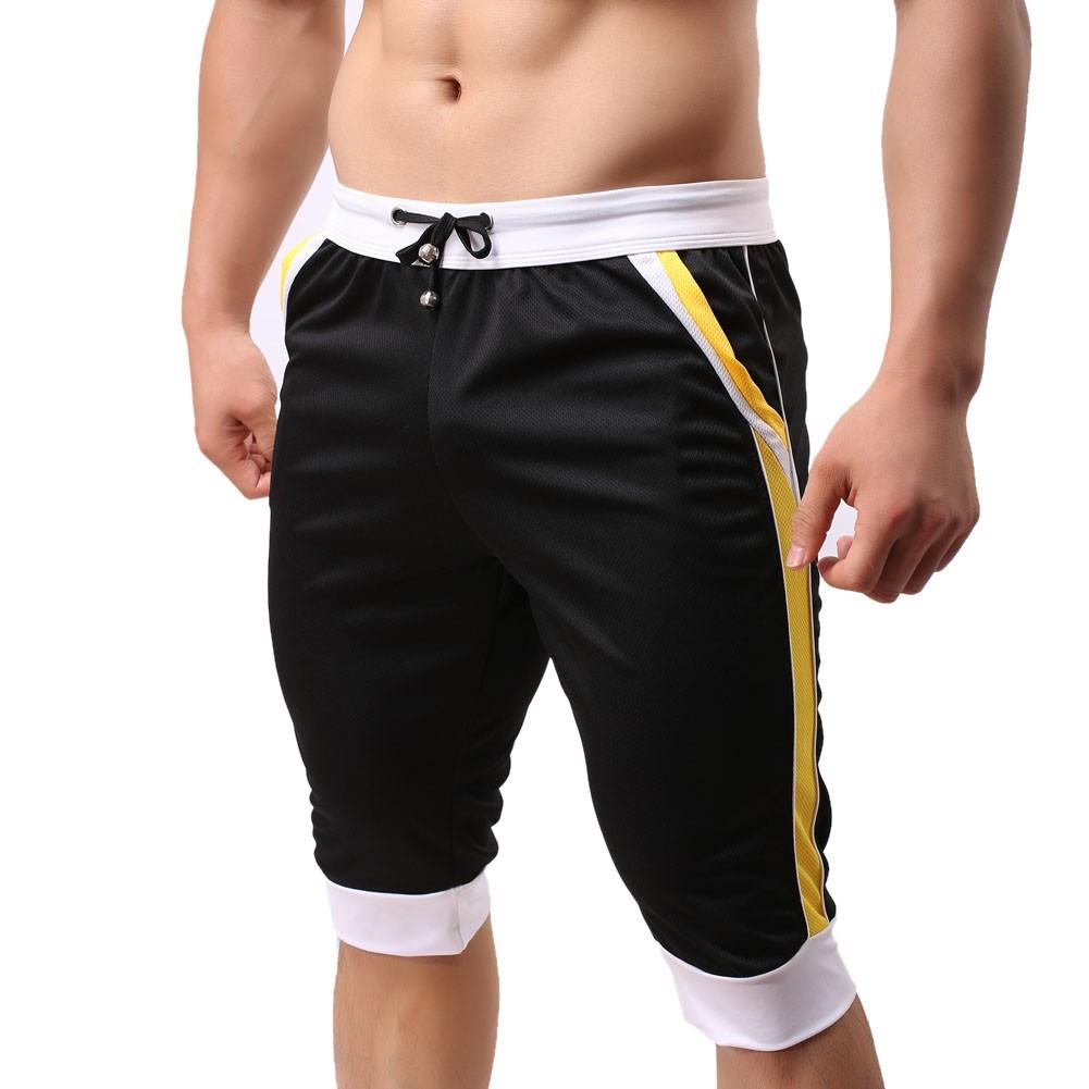 男士彈力休閒 健身 短褲褲(黑)