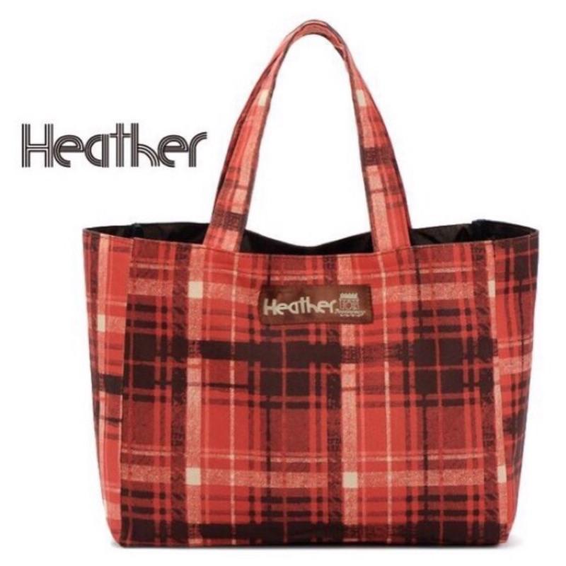 P C Shop 日雜non no 附錄~Heather 紅色系格紋托特包手提包 袋便當袋