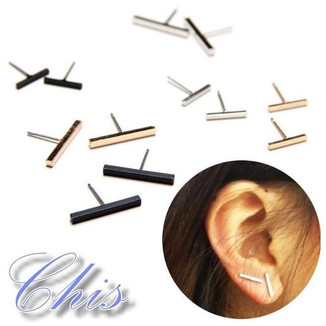 Chis Store ~純銀簡約長條耳環~韓國 極簡風簡單長方型塊狀一字純銀耳針耳釘早春打