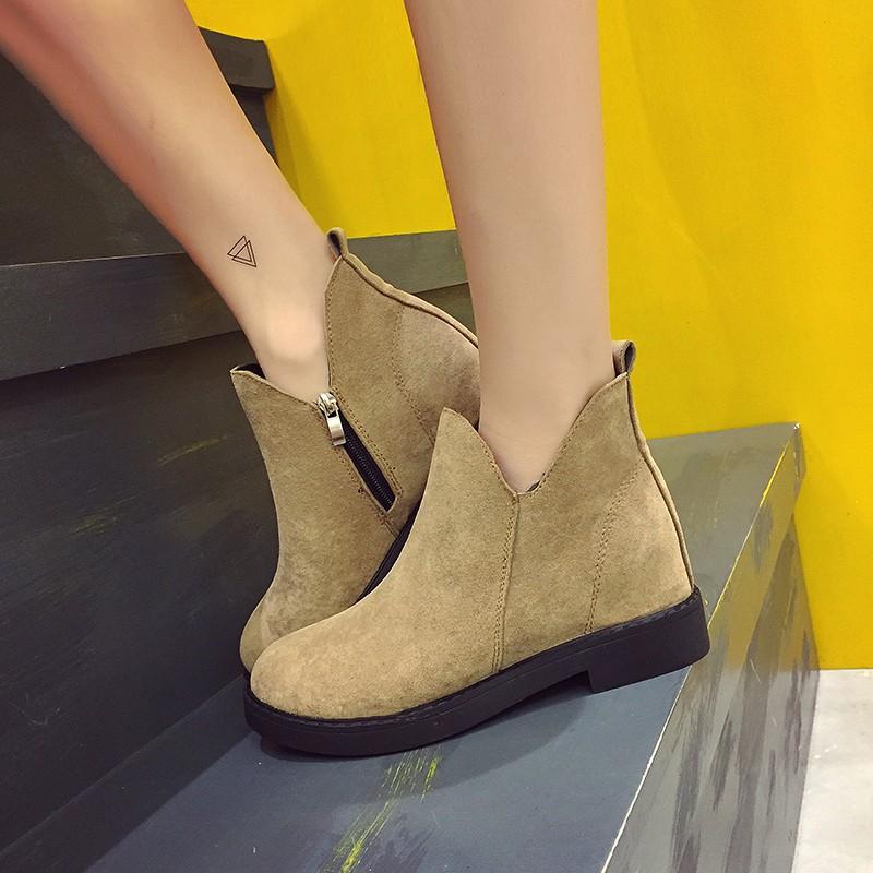 賣2016 粗跟短靴女平底馬丁靴磨砂皮平跟及裸靴擦色簡約女靴子