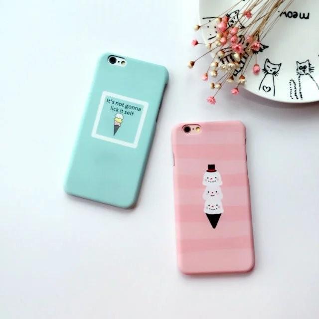 夏日 清新可愛磨砂硬殼超薄馬卡龍雪糕冰淇淋iPhone6s 保護殼iPhone6 plus