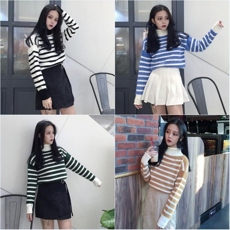 四色AMJ 韓國chic 氣質冬款寬鬆百搭撞色條紋高領套頭學生毛線毛衣
