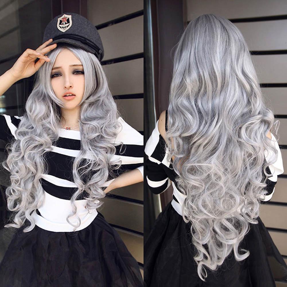 原宿假發動漫cosplay 彩色假發石灰色