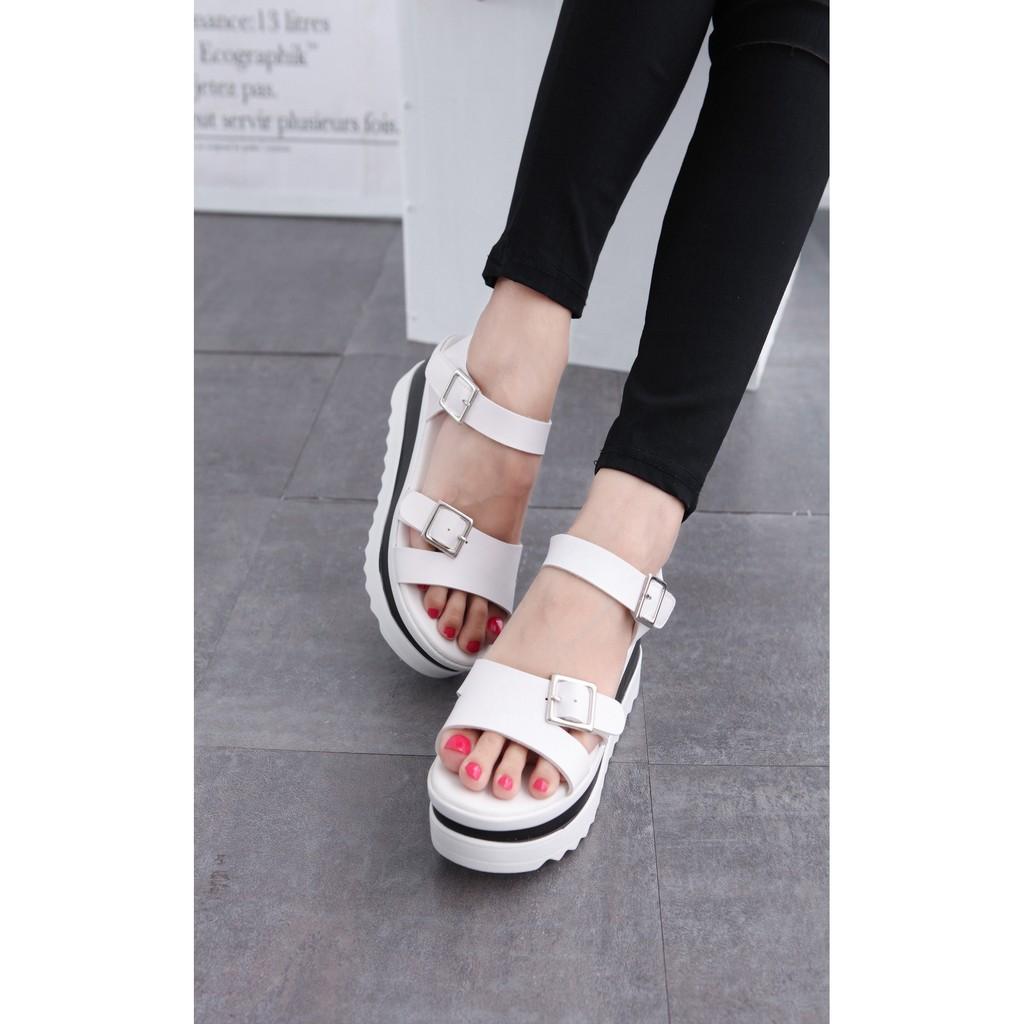 厚底涼鞋百搭休閒白色帶扣高跟鬆糕厚底楔型鞋涼鞋