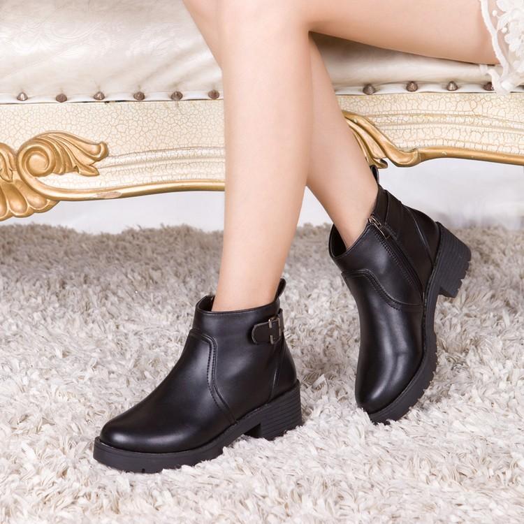 春 女鞋皮鞋女靴皮靴高跟平底女短靴尖頭馬丁靴裸靴靴子
