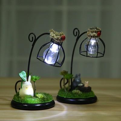 宮崎駿龍貓公仔擺件微景觀小夜燈日式雜貨 樹脂工藝品