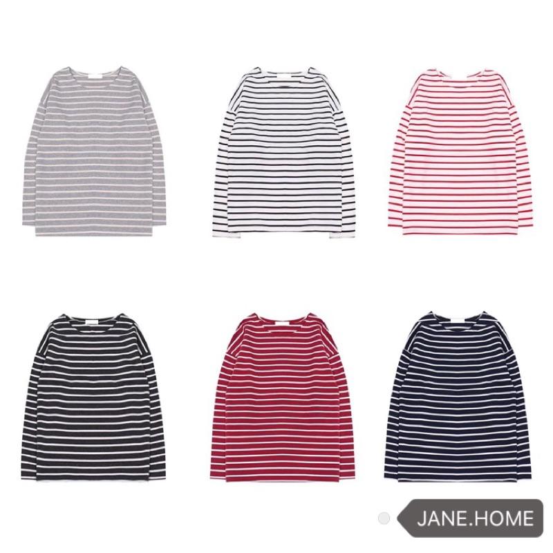 ( 款停售❤️)韓國超好質量百搭永不過時款寬鬆打底長袖條紋T 恤
