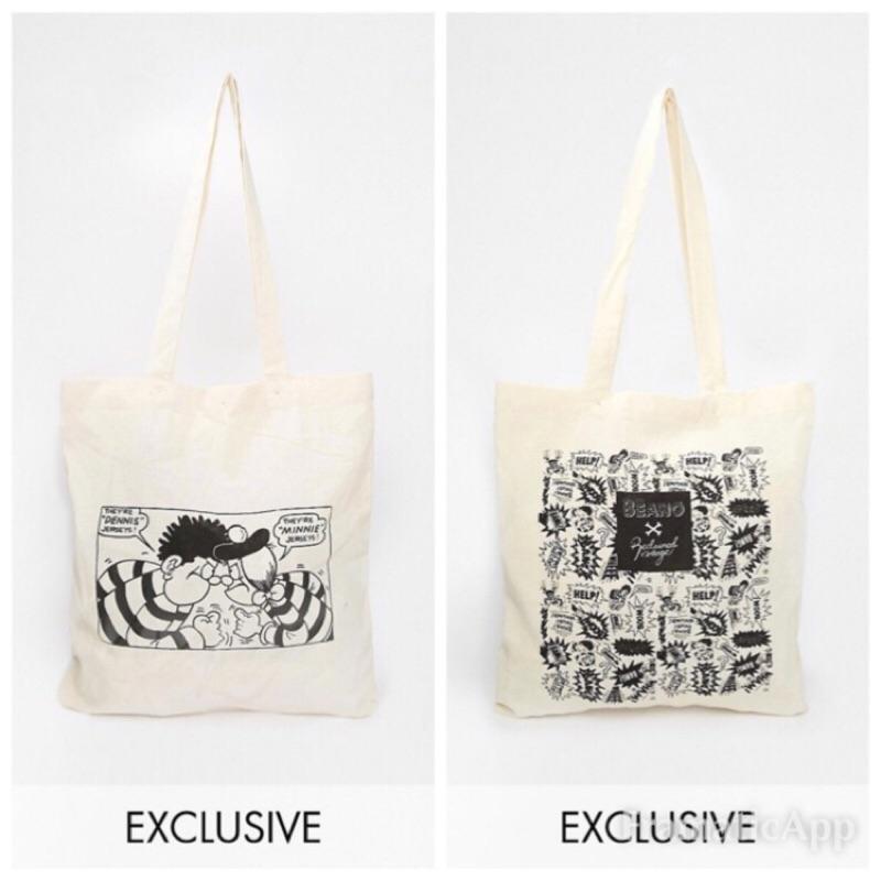 [低於成本 價]英國品牌Reclaimed Vintage 抓狂家族瘋狂漫畫 感帆布手提袋