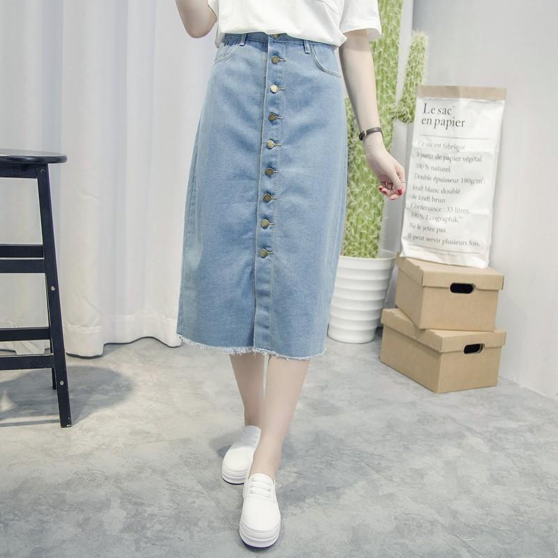 牛仔半身裙 女2017  前開叉中長裙高腰包臀包裙壹步裙子