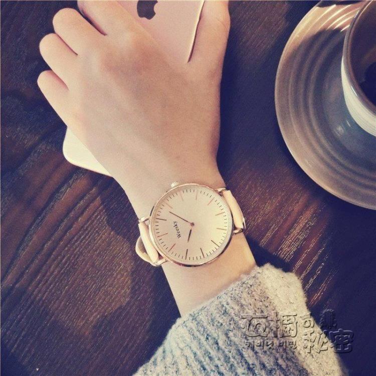 手錶北 復古學院風皮帶休閒 簡約學生石英錶女錶潮流考試手錶男衣櫥の秘密