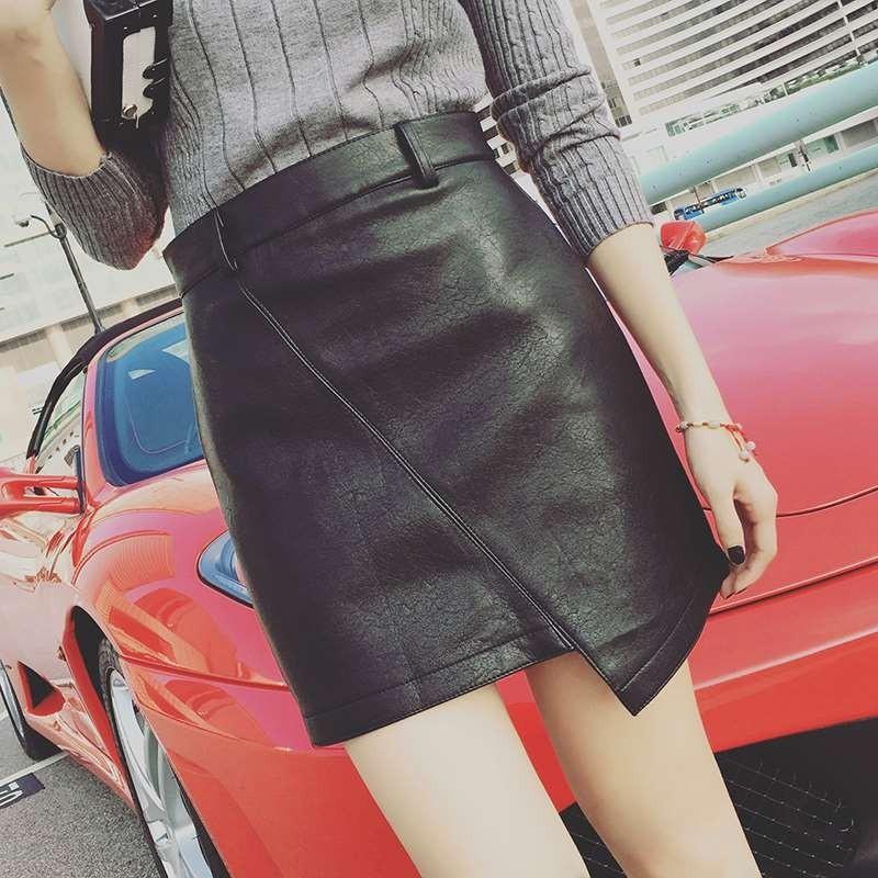 女裝高腰純色皮裙不規則PU 拼接包臀裙A 字短裙子寬褲褲裙長洋裝背心吊帶裙襯衫套裝長版連身