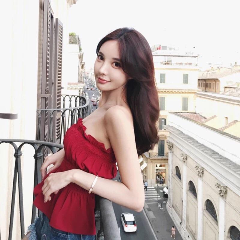 新品預售韓國夜店 性感木耳邊性感露背短款抹胸背心一字領上衣露肩上衣