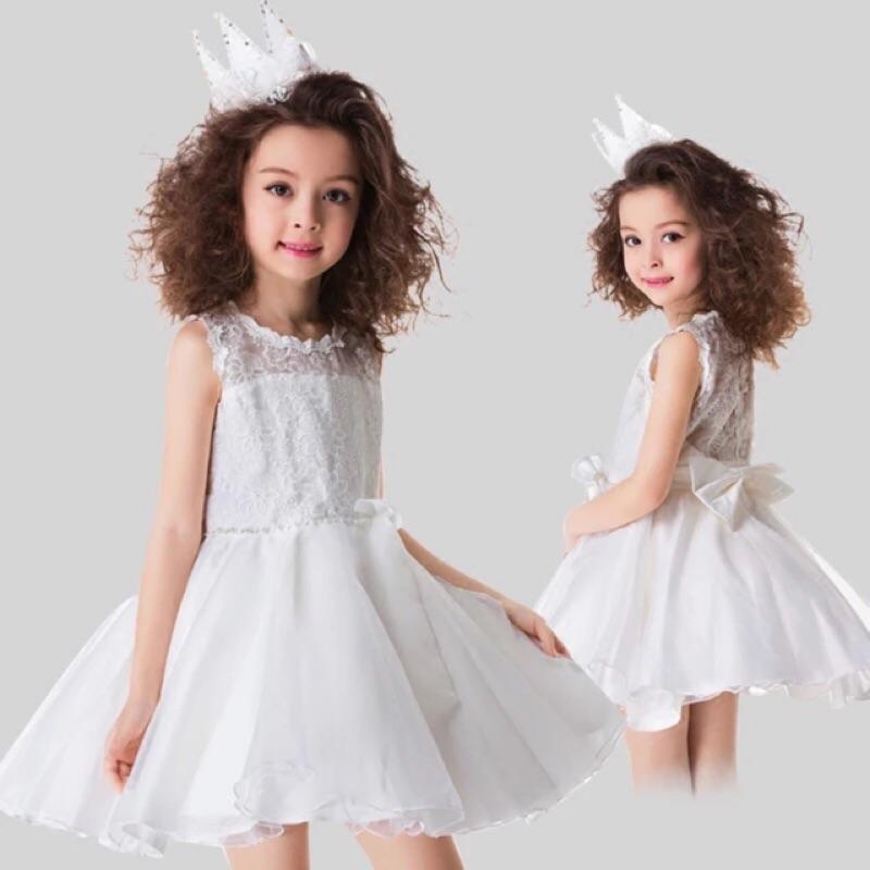 〈 降價 〉 女童禮服裙公主裙蓬蓬裙連衣裙花童婚紗演出服蕾絲背心裙白色